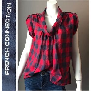 FRENCH CONNECTION BLUE RED PLAID CHECK TOP COOL